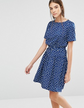photo Heart Print Drop Dead Gorgeous Dress by Trollied Dolly, color Navy - Image 1