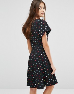 photo Swing For Your Supper Butterfly Print Dress by Trollied Dolly, color Black - Image 2