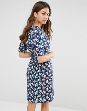photo Time For Tea Floral Print Dress by Trollied Dolly, color Navy - Image 2