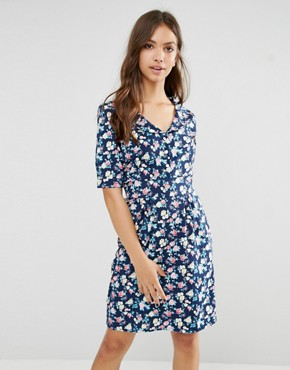 photo Time For Tea Floral Print Dress by Trollied Dolly, color Navy - Image 1