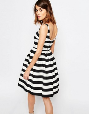 photo Stripe Prom Dress by Warehouse Premium, color Black/White - Image 2