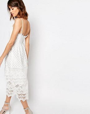 photo Lace Tiered Cami Dress by Warehouse Premium, color Cream - Image 2