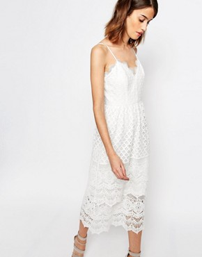 photo Lace Tiered Cami Dress by Warehouse Premium, color Cream - Image 1