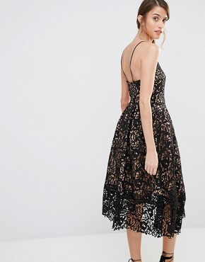 photo Lace Full Midi Dress by Warehouse Premium, color Black Nude - Image 2