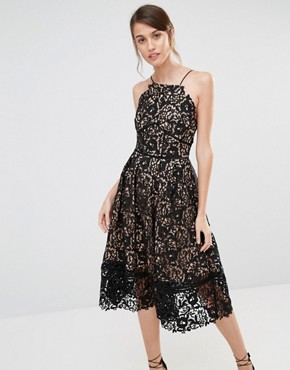 photo Lace Full Midi Dress by Warehouse Premium, color Black Nude - Image 1