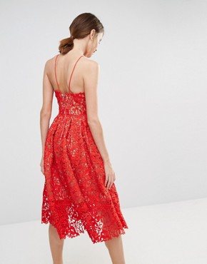 photo Lace Full Midi Dress by Warehouse Premium, color Red Nude - Image 2