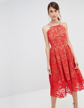photo Lace Full Midi Dress by Warehouse Premium, color Red Nude - Image 1