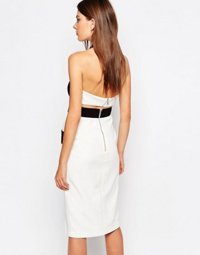 photo Boardwalks Pencil Dress by Finders Keepers, color White/Black - Image 2