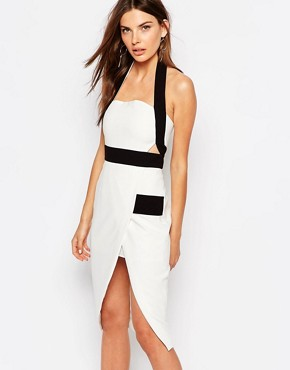 photo Boardwalks Pencil Dress by Finders Keepers, color White/Black - Image 1