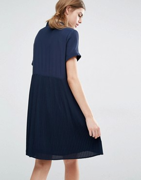 photo Calle Shirt Dress with Pleated Skirt by Suncoo, color Navy - Image 2