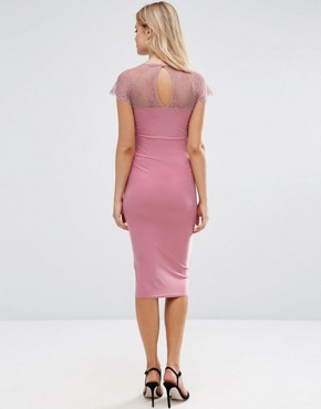 photo Lace Insert Bodycon Midi Dress by ASOS Maternity, color Pink - Image 2