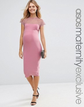 photo Lace Insert Bodycon Midi Dress by ASOS Maternity, color Pink - Image 1