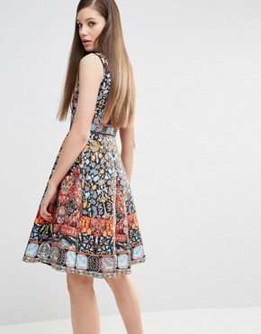 photo Skater Dress in Folk Print and Embellishment by Comino Couture, color Multi - Image 2