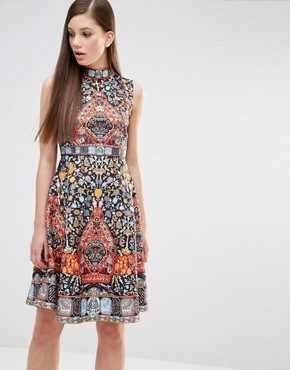 photo Skater Dress in Folk Print and Embellishment by Comino Couture, color Multi - Image 1