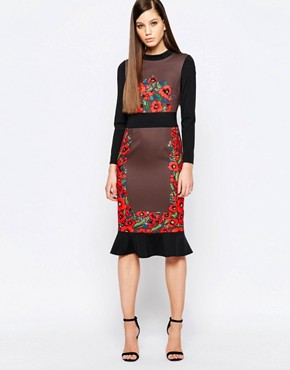 photo Midi Dress with Frill Hem and Engineered Print by Comino Couture, color Multi Mink - Image 1