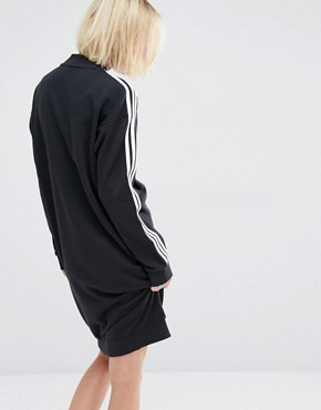 photo Three Stripe Sweatshirt Dress by Adidas Originals, color Black - Image 2