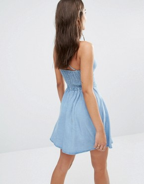 photo Lace Up Denim Skater Dress by Abercrombie & Fitch, color Medium Blue - Image 2