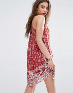 photo Chiffon Swing Dress in Print by Hollister, color Burgundy Print - Image 2