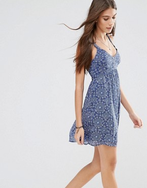 photo Babydoll Printed Dress by Hollister, color Navy Pattern - Image 1