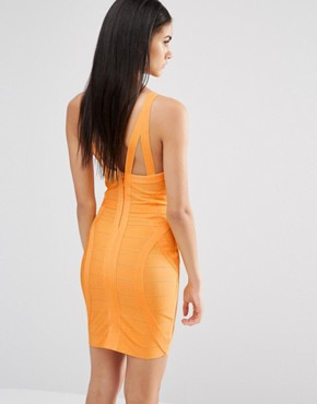 photo Bandage Bodycon Dress by Missguided Premium, color Tangerine - Image 2