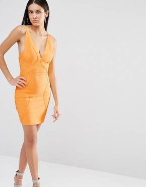photo Bandage Bodycon Dress by Missguided Premium, color Tangerine - Image 1
