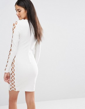 photo Bandage Lace Up Side Detail Bodycon Dress by Missguided Premium, color White - Image 2