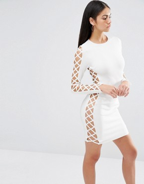 photo Bandage Lace Up Side Detail Bodycon Dress by Missguided Premium, color White - Image 1
