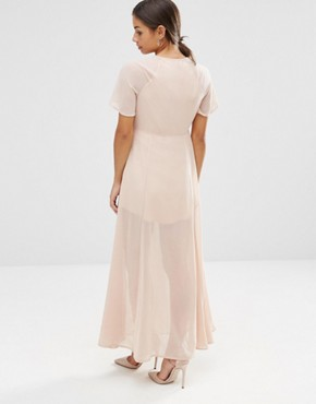 photo Flutter Sleeve Maxi Dress by Vero Moda Petite, color Rose Dust - Image 2