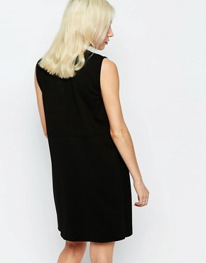 photo Drill Wrap Dress with V Neck by Neon Rose, color Black - Image 2