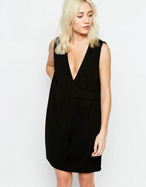 photo Drill Wrap Dress with V Neck by Neon Rose, color Black - Image 1