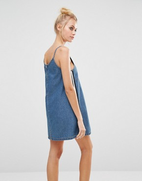 photo 90s Denim Pinny Dress by UNIF, color Mid Blue - Image 2