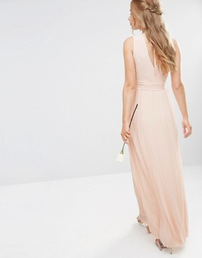 photo Pleated Wrap Maxi Dress by TFNC WEDDING, color Nude - Image 2