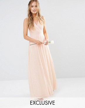 photo Pleated Wrap Maxi Dress by TFNC WEDDING, color Nude - Image 1