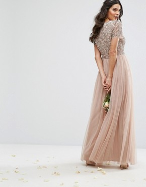 photo V Neck Maxi Tulle Dress with Tonal Delicate Sequins by Maya, color Taupe Blush - Image 2
