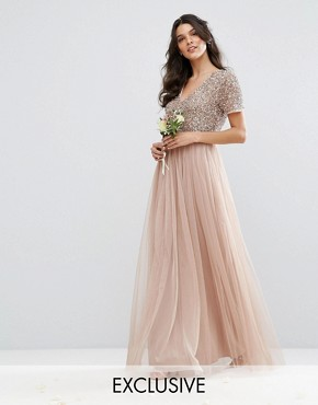 photo V Neck Maxi Tulle Dress with Tonal Delicate Sequins by Maya, color Taupe Blush - Image 1