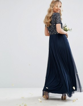 photo V Neck Maxi Tulle Dress with Tonal Delicate Sequins by Maya, color Navy - Image 2