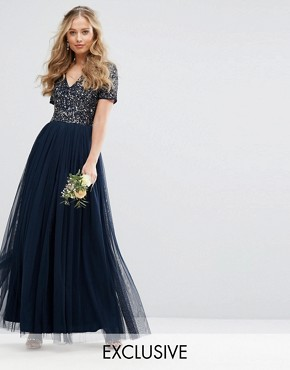 photo V Neck Maxi Tulle Dress with Tonal Delicate Sequins by Maya, color Navy - Image 1