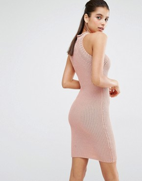 photo High Neck Knitted Mini Dress by Parallel Lines, color Dusty Pink - Image 2