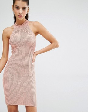 photo High Neck Knitted Mini Dress by Parallel Lines, color Dusty Pink - Image 1