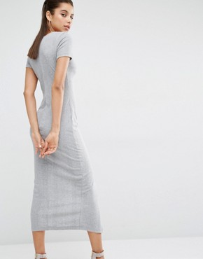 photo V Neck T-Shirt Maxi Dress in Soft Rib with Front Split by Parallel Lines, color Grey - Image 2