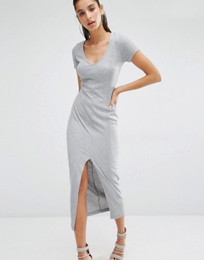 photo V Neck T-Shirt Maxi Dress in Soft Rib with Front Split by Parallel Lines, color Grey - Image 1