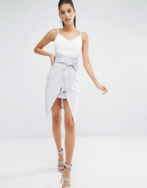 photo Cami Combo Dress with Tie Front Detail by Parallel Lines, color White - Image 1