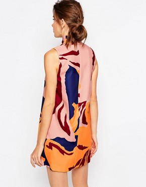 photo High Neck Printed Shift Dress by C/meo Collective, color Multi - Image 2