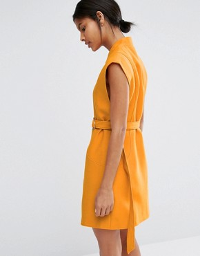 photo Belted Mini Shirt Dress by C/meo Collective, color Orange - Image 2