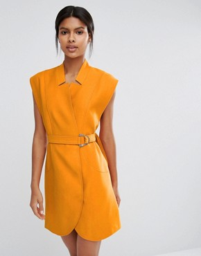 photo Belted Mini Shirt Dress by C/meo Collective, color Orange - Image 1