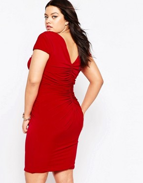 photo Dress with Ruched Detail by Goddiva Plus, color Red - Image 2