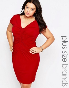 photo Dress with Ruched Detail by Goddiva Plus, color Red - Image 1