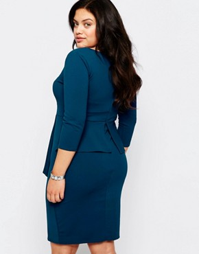 photo Pencil Dress with Peplum by Goddiva Plus, color Teal - Image 2