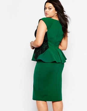 photo Pencil Dress with Peplum and Lace Insert by Goddiva Plus, color Emerald - Image 2