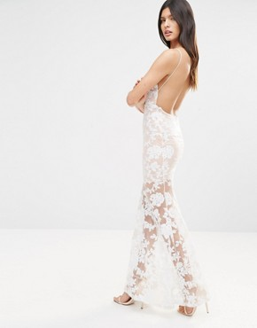 photo Cami Strap Floral Sequin Fishtail Backless Maxi Dress by Club L, color Nude/Cream - Image 2